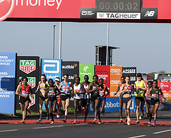 LONDON, April 22, 2018  Athletes of women's elite group compete during the London Marathon 2018 in London, Britain on April 22, 2018. (Credit Image: © Xu Hui/Xinhua via ZUMA Wire)