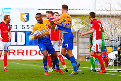 Krystian Pearce of Mansfield Town pulls away and aggravated Ryan Sweeney of Mansfield Town - Mandatory by-line: Ryan Crockett/JMP - 23/03/2019 - FOOTBALL - One Call Stadium - Mansfield, England - Mansfield Town v Crewe Alexandra - Sky Bet League Two