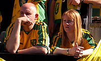 Photo: Daniel Hambury.<br /> Fulham v Norwich City.<br /> FA Barclays Premiership.<br /> 15/05/2005.<br /> 2 Norwich fans look gutted as their side are relegated.