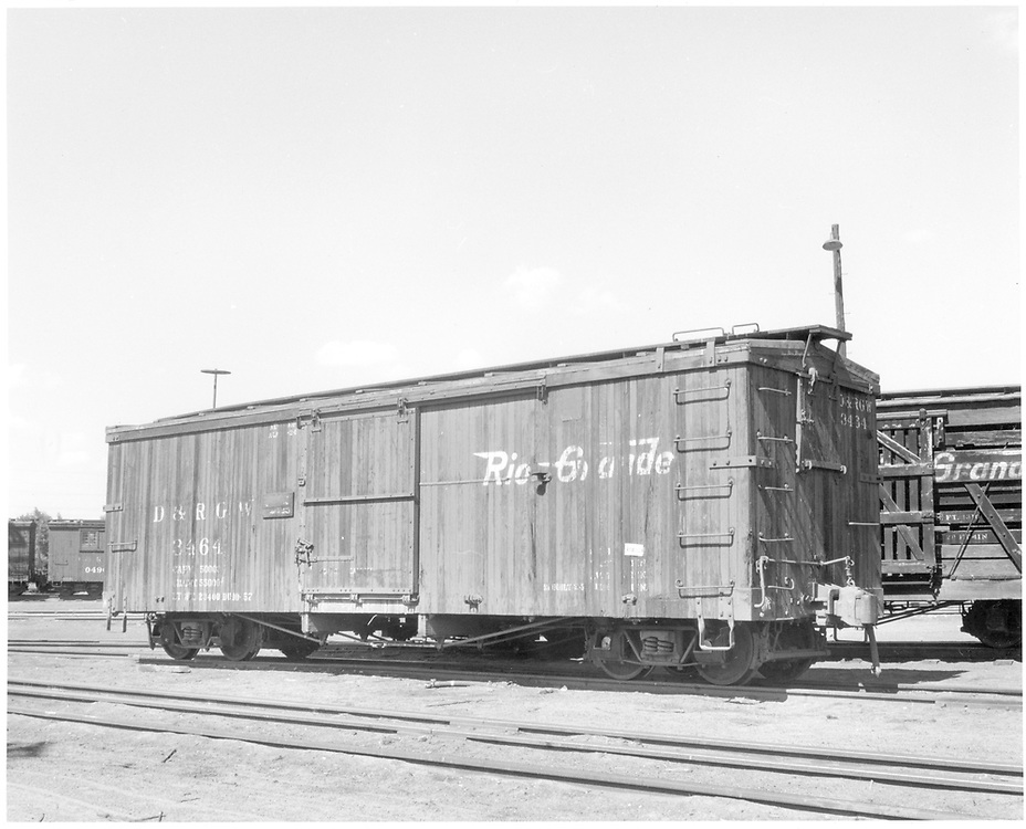 3/4 view of box car #3464 at Alamosa.<br /> D&RGW  Alamosa, CO  7/1958