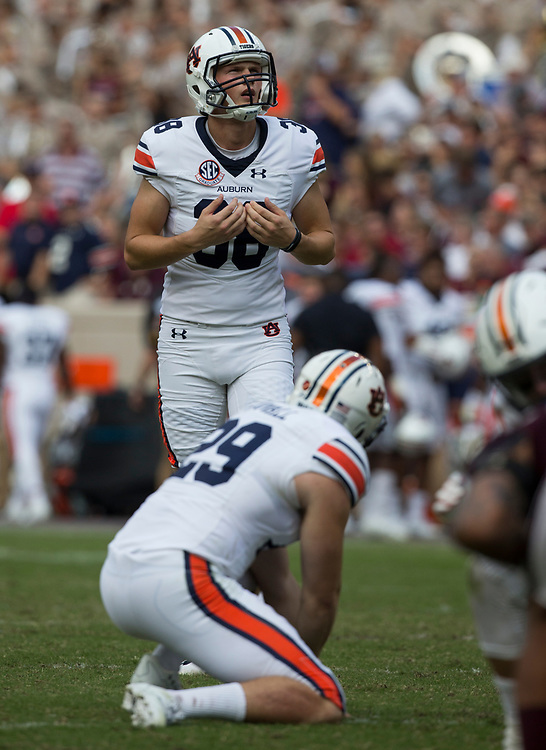 Auburn place kicker Daniel Carlson (38) lines up for a kick against Texas A&M during the fourth quarter of an NCAA college football game on Saturday, Nov. 4, 2017, in College Station, Texas. (AP Photo/Sam Craft)