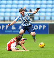 Fleetwood Town's Eggert Jonsson vies for possession with Coventry City's John Fleck<br /> <br /> Photographer Andrew Vaughan/CameraSport<br /> <br /> Football - The Football League Sky Bet League One - Coventry City v Fleetwood Town - Saturday 27th February 2016 - Ricoh Stadium - Coventry   <br /> <br /> © CameraSport - 43 Linden Ave. Countesthorpe. Leicester. England. LE8 5PG - Tel: +44 (0) 116 277 4147 - admin@camerasport.com - www.camerasport.com