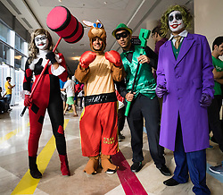 Dubai, 4th April 2014; fans in costume at the 2014 Middle East Film and Comic Con at World Trade Centre in Dubai United Arab Emirates