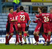 Photo: Greig Cowie<br />Nationwide League Division 1. Coventry v Wimbledon. 08/03/2003<br />David Connolly (L)  celebrates his goal
