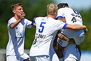 Hamilton Wanderers players celebrate a goal in the Handa Premiership football match, Hawke's Bay United v Hamilton Wanderers, Bluewater Stadium, Napier, Sunday, November 15, 2020. Copyright photo: Kerry Marshall / www.photosport.nz
