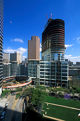 Stock photo of the aerial view of the construction of a circular skywalk in downtown Houston Texas