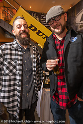 Sean Delshadi and David Zemla at the Custom Chrome Europe party during the Intermot International Motorcycle Fair. Cologne, Germany. Friday October 5, 2018. Photography ©2018 Michael Lichter.