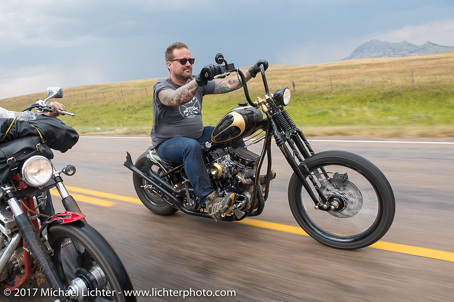 Bobby Seeger on Aidan's Ride to raise money for the Aiden Jack Seeger nonprofit foundation to help raise awareness and find a cure for ALD (Adrenoleukodystrophy) during the annual Sturgis Black Hills Motorcycle Rally. Riding the cut-off Fort Meade Way between I-90 and the Buffalo Chip, SD, USA. Tuesday August 8, 2017. Photography ©2017 Michael Lichter.