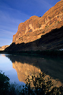 Morning light on cliffs above the Colorado River near Moab, UTAH