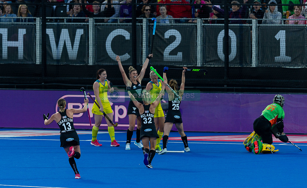 New Zealand's Olivia Merry celebrates scoring their first goal
