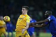 Jordan Hugill of Preston North End shields the ball from Sol Bamba of Cardiff city.  EFL Skybet championship match, Cardiff city v Preston North End at the Cardiff city stadium in Cardiff, South Wales on Friday 29th December 2017.<br /> pic by Andrew Orchard, Andrew Orchard sports photography.