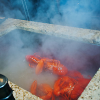 Just steamed fresh Maine lobster ready to cool and serve up with drawn butter.