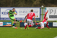Forest Green Rovers Liam Noble(15) shoots at goal  during the Vanarama National League match between Forest Green Rovers and Wrexham FC at the New Lawn, Forest Green, United Kingdom on 18 March 2017. Photo by Shane Healey.