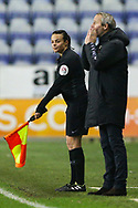 Charlton Athletic Manager Lee Bowyer and Assistant Referee Lisa Rashid during the EFL Sky Bet League 1 match between Wigan Athletic and Charlton Athletic at the DW Stadium, Wigan, England on 2 March 2021.