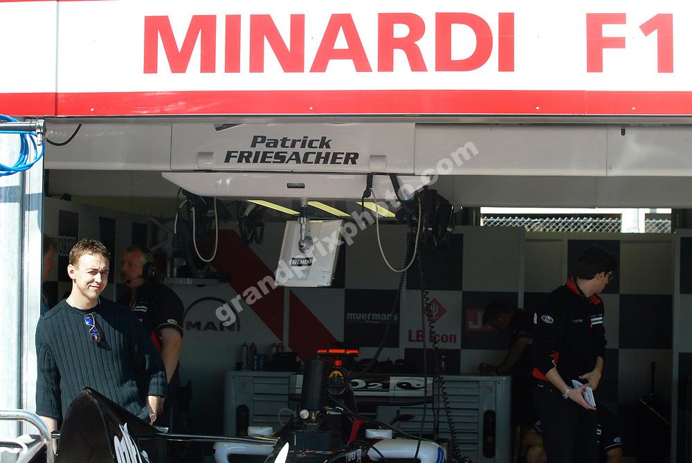 Nicolas Kiesa in ther Ferrari pits before the 2005 Monaco Grand Prix. Photo: Grand Prix Photo
