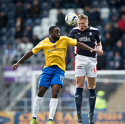 Cowdenbeath's Kudus Oyenuga and Falkirk's Peter Grant.<br /> Falkirk 6 v 0 Cowdenbeath, Scottish Championship game played at The Falkirk Stadium, 25/10/2014.