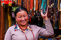 Street vendor outside the Drepung Monastery, near Lhasa, TIbet (Xizang), China.