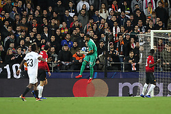 December 12, 2018 - Valencia, Spain - December 12, 2018 - Valencia, Spain - .Sergio Romero of Manchester United makes a save during the UEFA Champions League, Group H football match between Valencia CF and Manchester United on December 12, 2018 at Mestalla stadium in Valencia, Spain (Credit Image: © Manuel Blondeau via ZUMA Wire)