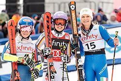 25.11.2017, Killington, USA, FIS Weltcup Ski Alpin, Killington, Riesenslalom, Damen, 2. Durchgang, im Bild v.l. Mikaela Shiffrin (USA, 2. Platz), Viktoria Rebensburg (GER, 1. Platz), Manuela Moelgg (ITA, 3. Platz) // f.l. second placed Mikaela Shiffrin of the USA winner Viktoria Rebensburg of Germany third placed Manuela Moelgg of Italy after their 2nd run of ladie's Giant Slalom of FIS Ski Alpine World Cup in Killington, United Staates on 2017/11/25. EXPA Pictures © 2017, PhotoCredit: EXPA/ Johann Groder
