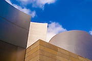 Abstract image of the Frank Gehry designed Walt Disney Concert Hall in downtown Los Angeles, California.