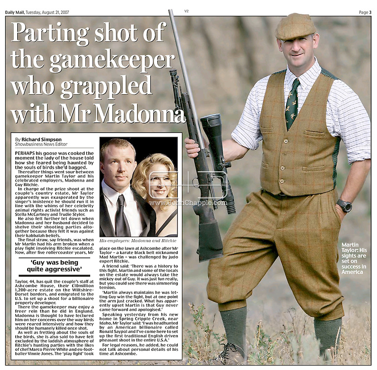 DAILY MAIL NEWSPAPER - LONDON TUESDAY 21st AUGUST 2007, PAGE 3..16th August 2007. Newdale, Idaho. Madonna and Guy Ritchie's former Gamekeeper Martin Taylor, who now works at The Lazy Triple Creek Ranch in Idaho. Film-maker Ritchie is to make a big screen version of comic series The Gamekeeper, the main character is based on Martin...PHOTO © JOHN CHAPPLE / REBEL IMAGES.tel 310 570 9100.john@chapple.biz.www.chapple.biz