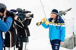 15.03.2016, Engiadina, St. Moritz, SUI, FIS Weltcup Ski Alpin, St. Moritz, Abfahrt, Herren, 1. Training, im Bild Medien Besichtigung Freefall Start mit Rennchef Martin Berthod // during 1st training run for the men's Downhill of St. Moritz Ski Alpine World Cup finals at the Engiadina in St. Moritz, Switzerland on 2016/03/15. EXPA Pictures © 2016, PhotoCredit: EXPA/ Freshfocus/ Manuel Lopez<br /> <br /> *****ATTENTION - for AUT, SLO, CRO, SRB, BIH, MAZ only*****