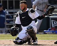 CHICAGO - APRIL 05:  Wellington Castillo #27 of the Chicago White Sox looks on against the Seattle Mariners on April 5, 2019 at Guaranteed Rate Field in Chicago, Illinois.  (Photo by Ron Vesely)  Subject:  Wellington Castillo