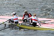 Hamilton, New Zealand, 2010  World Rowing Championships,  Lake Karapiro, Japan Team Manager, Ghokan, assists GER LW2X coming to Pontoon, in rough water Sunday  31/10/2010.  [Mandatory Credit Karon Phillips/Intersport Images]