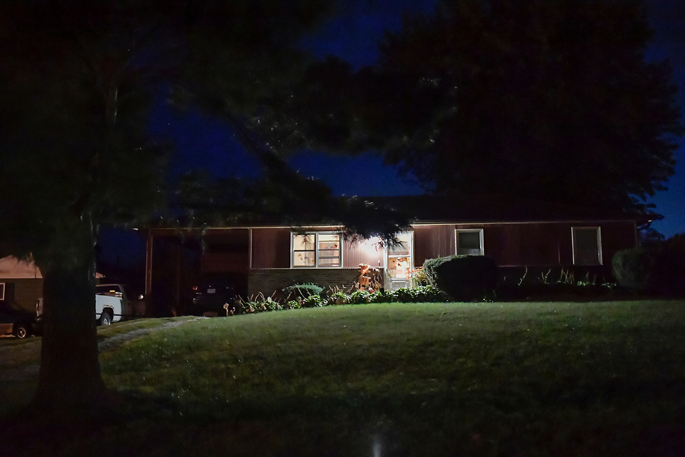 The Snoddy home is seen in the early morning in Boonville.