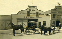 1910 Sunset Livery Stable at Sunset Blvd. & Cahuenga Ave.
