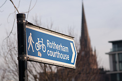 Street sign to Rotherham Magistrates Court