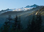 El Dorado Peak (8868 feet elevation) rises high above the North Fork Cascade River Valley in North Cascades National Park, Washington, USA.