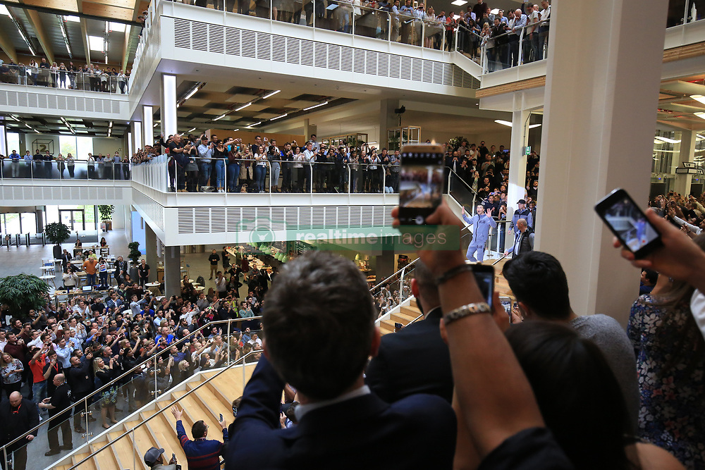 27 April 2017 - Boxing - Anthony Joshua v Wladimir Klitschko Press conference - Wladimir Klitschko waves at hundreds of assembled Sky employees as he makes his way through the atrium at Sky Central studios - Photo: Marc Atkins / Offside.