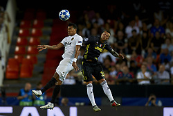 September 19, 2018 - Valencia, Spain - Jeison Murillo, Federico Bernardeschi (R) competes for the ball during the Group H match of the UEFA Champions League between Valencia CF and Juventus at Mestalla Stadium on September 19, 2018 in Valencia, Spain. (Credit Image: © Jose Breton/NurPhoto/ZUMA Press)