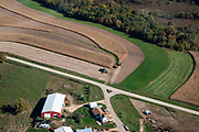 Aerial image over Iowa County, Wisconsin on a beautiful morning.