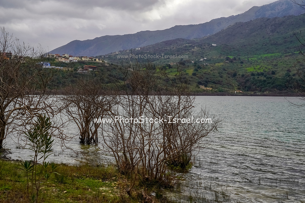 Dramatic winter mountain landscape scene on Crete, Greece