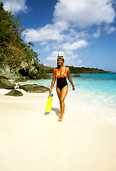 US Virgin Islands, St. John, Trunk Bay Beach, snorkeling, snorkeler, model released, photo: usvi20104  .Photo copyright Lee Foster, www.fostertravel.com, 510/549-2202, lee@fostertravel.com