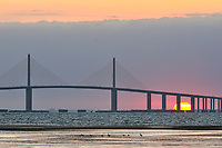 Sun rising under the Sunshine Skyway Bridge from Fort De Soto Park. Image taken with a Nikon D300 camera and 200-400 mm f/4 telephoto zoom lens (ISO 800, 200 mm, f/5.6, 1/400 sec).