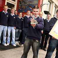 Aiden Murray and Sean Frawley with the rest of the Otter Spotters from Ennistymon Vocational School who won the Senior Biodiversity Category in the 2009 Young Environmentalist Awards.<br /> Photograph by Yvonne Vaughan