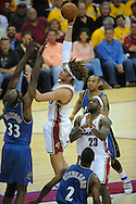The Washington Wizards defeated the Cleveland Cavaliers 88-87 in Game 5 of the First Round of the NBA Playoffs, April 30, 2008 at Quicken Loans Arena in Cleveland.<br /> Anderson Varejao shoots over Brendan Haywood.