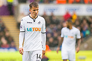 Tom Carroll of Swansea City looks on. Premier league match, Swansea city v Leicester city at the Liberty Stadium in Swansea, South Wales on Saturday 21st October 2017.<br /> pic by Aled Llywelyn, Andrew Orchard sports photography.