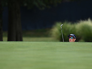 Jason Schmuhl(USA) peers out of a bunker on the 17th during the 1st round of the 100th PGA Championship at Bellerive Country Club, St. Louis, Missouri.<br /> Picture Tom Russo / Golffile.ie<br /> <br /> All photo usage must carry mandatory copyright credit (© Golffile | Tom Russo)