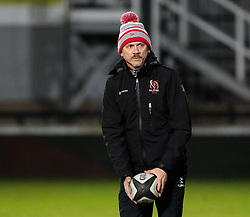 Ulster's Head Coach Les Kiss during the pre match warm up<br /> <br /> Photographer Simon King/Replay Images<br /> <br /> Guinness Pro14 Round 10 - Dragons v Ulster - Friday 1st December 2017 - Rodney Parade - Newport<br /> <br /> World Copyright © 2017 Replay Images. All rights reserved. info@replayimages.co.uk - www.replayimages.co.uk