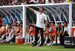 July 31, 2018 - Miami Gardens, Florida, USA - Real Madrid C.F. head coach Julen Lopetegui directs the team during an International Champions Cup match between Real Madrid C.F. and Manchester United F.C. at the Hard Rock Stadium in Miami Gardens, Florida. Manchester United F.C. won the game 2-1. (Credit Image: © Mario Houben via ZUMA Wire)