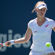 August 19, 2014, New Haven, CT:<br /> Alison Riske hits a forehand during a match against Flavia Pennetta on day five of the 2014 Connecticut Open at the Yale University Tennis Center in New Haven, Connecticut Tuesday, August 19, 2014.<br /> (Photo by Billie Weiss/Connecticut Open)