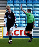 Photo: Alan Crowhurst.<br />Millwall v Swansea City. Coca Cola League 1. 31/03/2007.<br />Swansea's Alan Tate (L) gets a straight red card from referee Rob Lewis for a tackle on Ryan Smith.