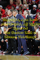 NORMAL, IL - February 02: Porter Moser gets excited while pleading with Gene Grimshaw during a college basketball game between the ISU Redbirds and the University of Loyola Chicago Ramblers on February 02 2019 at Redbird Arena in Normal, IL. (Photo by Alan Look)