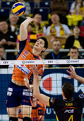 Matevz Kamnik of ACH at  match for 3rd place of CEV Indesit Champions League FINAL FOUR tournament between PGE Skra Belchatow, POL and ACH Volley Bled, SLO on May 2, 2010, at Arena Atlas, Lodz, Poland.  (Photo by Vid Ponikvar / Sportida)