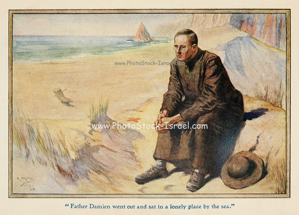 Father Damien went out and sat in a lonely place by the sea Illustrating the story ' The Apostle of the Lepers ' From the book '  The red book of heroes ' by Mrs. Lang, Edited by Andrew Lang, illustrated by A. Wallis Mills, Published by Longmans, Green, and Co. New York, London, Bombay and Calcutta in 1909