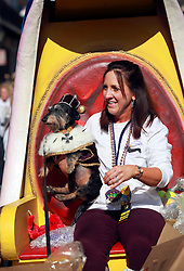08 Feb 2015. New Orleans, Louisiana.<br /> Mardi Gras. King of the parade, King Andouille and owner Rose Lemarie. The Mystic Krewe of Barkus takes to the streets of the French Quarter with the theme 'Bark Wars: Return of the K-9.' Barkus is the only officially licensed Mardi Gras krewe by and for canines. <br /> Photo; Charlie Varley/varleypix.com